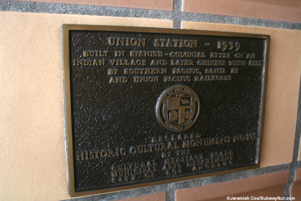 In one of the gardens outside of Union Station the clock tower in the ...